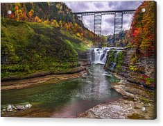 Upper Falls In Fall Acrylic Print
