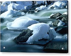 Upper Provo River In Winter Acrylic Print by Dennis Hammer