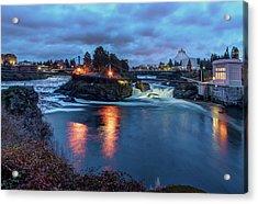 Upper Spokane Falls At Dusk Acrylic Print