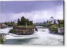 Upper Spokane Falls On A Rainy Day Acrylic Print