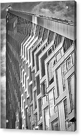 Acrylic Print featuring the photograph Upward View To West 57 St Nyc Bw by Susan Candelario