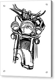 Urban Drawing Motorcycle Acrylic Print by Chad Glass