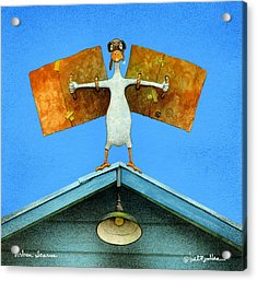 Acrylic Print featuring the painting urban Icarus... by Will Bullas