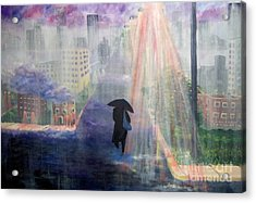 Acrylic Print featuring the painting Urban Life by Saundra Johnson