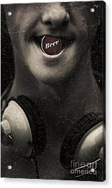 Urban Man Wearing Headphones And Beer Cap In Mouth Acrylic Print by Jorgo Photography - Wall Art Gallery