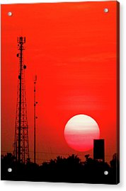 Urban Sunset And Radiostation Tower Silhouettes Acrylic Print by Rosita So Image