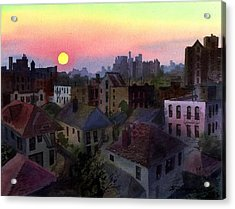 Acrylic Print featuring the painting Urban Sunset by Sergey Zhiboedov