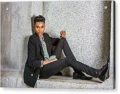 Acrylic Print featuring the photograph Urban Teenage Boy Fashion 15042648 by Alexander Image