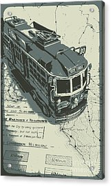 Urban Trams And Old Maps Acrylic Print