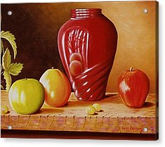 Acrylic Print featuring the painting Urn An Apple by Gene Gregory