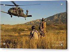 U.s. Air Force Pararescuemen Signal Acrylic Print by Stocktrek Images