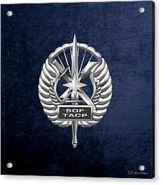 Acrylic Print featuring the digital art U.s. Air Force Tactical Air Control Party - Special Tactics Tacp Crest Over Blue Velvet by Serge Averbukh