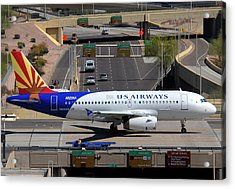 Us Airways Airbus A319-132 N826aw Arizona At Phoenix Sky Harbor March 16 2011 Acrylic Print by Brian Lockett