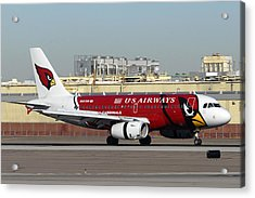 Us Airways Airbus A319 Arizona Cardinals Phoenix Sky Harbor November 10 2010 Acrylic Print by Brian Lockett
