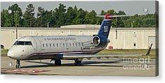 Us Airways Express Jet Plane Acrylic Print by David Oppenheimer