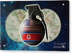 U.s. And North Korean Conflict Acrylic Print by George Mattei