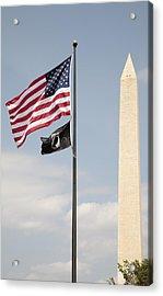 Us And Pow-mia Flags Fly In Washington Dc Acrylic Print