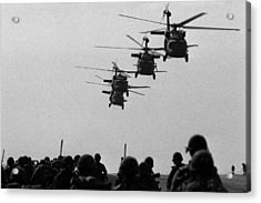 U.s. Army Black Hawk Helicopters Depart Acrylic Print by Everett