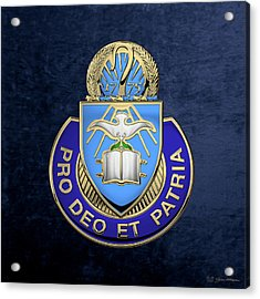 Acrylic Print featuring the digital art U. S. Army Chaplain Corps - Regimental Insignia Over Blue Velvet by Serge Averbukh