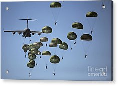 U.s. Army Paratroopers Jumping Acrylic Print