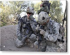 U.s. Army Soldier Radios In His Teams Acrylic Print by Stocktrek Images