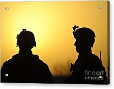 U.s. Army Soldiers Silhouetted Acrylic Print by Stocktrek Images