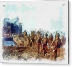 U.s. Army Troops On An Italian Beach Wwii Acrylic Print by Esoterica Art Agency