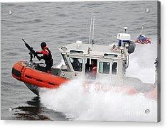 U.s. Coast Guardsmen Aboard A Security Acrylic Print by Stocktrek Images