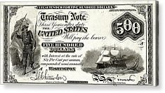 Acrylic Print featuring the digital art U.s. Five Hundred Dollar Bill - 1864 $500 Usd Treasury Note  by Serge Averbukh