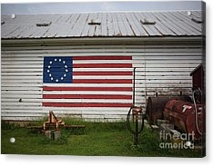 Us Flag Barn Acrylic Print