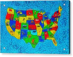 Us Map With Theme  - Special Finishing -  - Pa Acrylic Print by Leonardo Digenio
