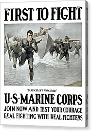 Us Marine Corps - First To Fight  Acrylic Print by War Is Hell Store