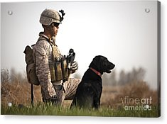 U.s. Marine Holds Security In A Field Acrylic Print by Stocktrek Images