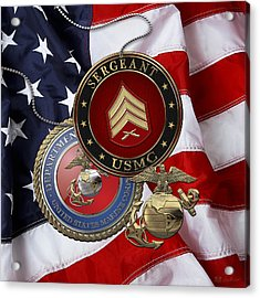 U. S. Marines Sergeant - U S M C Sgt Rank Insignia Over American Flag Acrylic Print