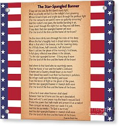 Us National Anthem - The Star-spangled Banner  Acrylic Print by Celestial Images