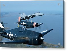 Us Navy Lagacy Flight  Acrylic Print by John Clark