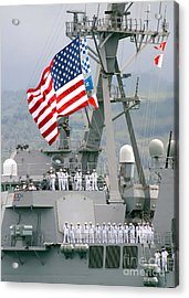 U.s. Navy Sailors Line The Rails Aboard Acrylic Print by Stocktrek Images