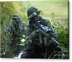 U.s. Navy Seals Cross Through A Stream Acrylic Print by Tom Weber