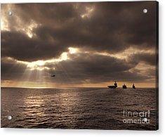 U.s. Ships Participate In An Replenishment At Sea Acrylic Print