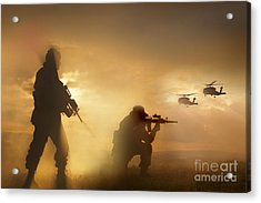U.s. Special Forces Provide Security Acrylic Print by Tom Weber