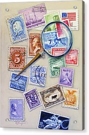 Acrylic Print featuring the painting U.s. Stamp Collection by Oz Freedgood