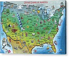 Usa Cartoon Map Acrylic Print by Kevin Middleton