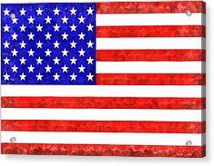 Usa Flag  - Acrylic Style -  - Pa Acrylic Print by Leonardo Digenio