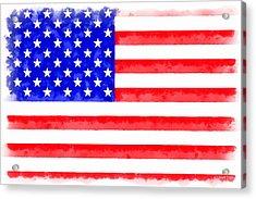 Usa Flag  - Aquarell Style -  - Da Acrylic Print by Leonardo Digenio