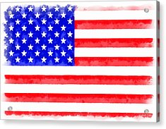 Usa Flag  - Aquarell Style -  - Pa Acrylic Print by Leonardo Digenio