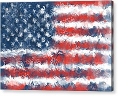Usa Flag Brush Strokes Acrylic Print