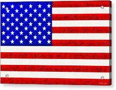 Usa Flag  - Fine Wax Style -  - Da Acrylic Print by Leonardo Digenio