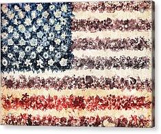 Usa Flag Floral 3 Acrylic Print by Bekim Art