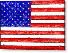 Usa Flag  - Pencil Style -  - Da Acrylic Print by Leonardo Digenio
