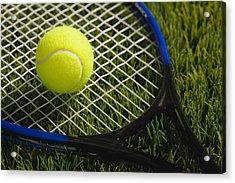 Usa, Illinois, Metamora, Tennis Racket And Ball On Grass Acrylic Print by Vstock LLC